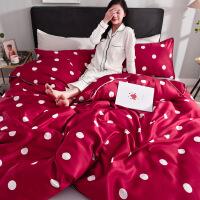 夏季冰丝床上四件套被套床单全棉纯棉网红被子丝滑北欧风女三件套