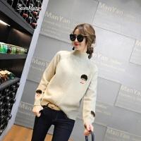 韩版毛衣女2018春装新款女装韩版时尚刺绣卡通套头针织衫长袖潮款