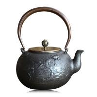 20191216183455143铸铁泡茶烧水壶煮茶器电陶炉茶炉功夫茶具瑞寿堂连年有余铁壶铸铁泡茶纯手工茶壶电陶炉礼品套