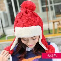 毛线帽子女网红同款加绒加厚护耳针织帽户外运动新品韩国女士时尚雷锋帽潮