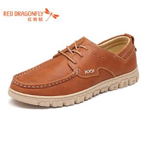 红蜻蜓男鞋2017年春秋新款单鞋时尚休闲系带皮鞋舒适低帮鞋真皮鞋
