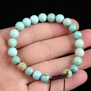 原矿高瓷高蓝绿松石圆珠手串 直径8mm 16.18g