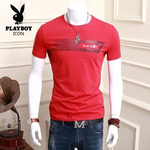 花花公子 夏季新款短袖印花T恤男士套头圆领上衣韩版宽松短袖体恤衫潮流