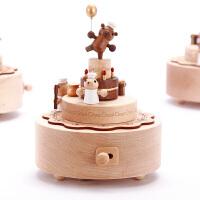 音乐盒八音盒木质送女生女孩儿童生日情人节礼物小熊旋转