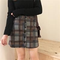 格子半身裙冬季韩版高腰显瘦加厚包臀一步裙a字裙英伦短裙女