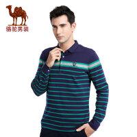 骆驼男装 时尚新款翻领撞色条纹纯棉日常休闲长袖T恤衫男上衣