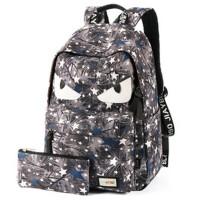 小怪兽双肩包帆布小学生书包 中学生男女学生背包