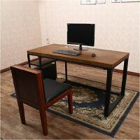 铁艺实木台式电脑桌家用简约现代书桌写字桌工作台简易办公桌
