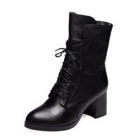2018秋冬新款欧美加绒马丁靴潮女短靴高跟尖头粗跟中筒靴系带女靴 黑色