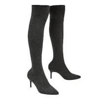 尖头针织袜靴女细跟高跟性感显瘦百搭超弹力过膝高筒靴女丝袜长靴