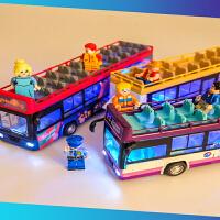 合金公交车卡通双层敞篷巴士1:48仿真儿童玩具车模型大巴车回力车