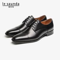 莱尔斯丹 男鞋时尚商务正装缝线方头系带低跟德比鞋单鞋皮鞋LS ATM09507