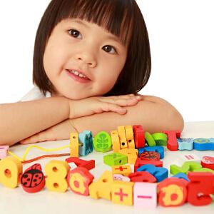 【当当自营】木玩世家 54PCS 彩色数字串珠 穿线玩具儿童益智游戏木制积木玩具 BH2606A