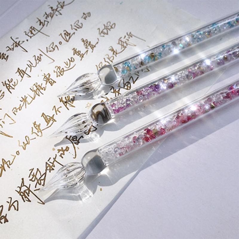 玻璃笔 碎钻流沙练字玻璃笔2019新款星辰蘸水笔水晶手工学生创意玻璃试色笔 碎钻流沙练字玻璃笔