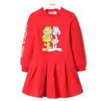 【领卷:79元选3】加菲猫女童加绒卫衣裙GKW17568