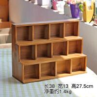 zakka做旧木质桌面收纳柜 创意阶梯12格展示柜家居首饰杂物储物盒 复古老款 阶梯12格 12个