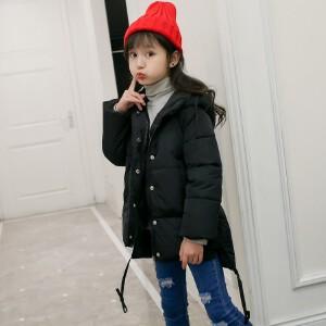 百槿 童装冬季女童加厚连帽纯色加厚棉衣棉服 中大童公主范加厚连帽单排扣棉服
