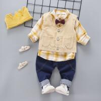 百槿 男童春季新款儿童礼服马甲三件套装男孩衬衫小西装韩版潮1-2-3-4-5岁
