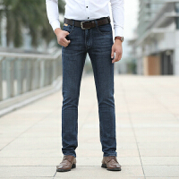 758春装新款吉普Jeep弹力牛仔裤 中腰直筒男士牛仔长裤 商务休闲牛仔男裤 深蓝