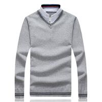 男士假2件针织衫套头毛衣韩版休闲纯色针织线衫大码毛线衣