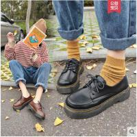 英伦风复古小皮鞋女春增高韩版百搭学生软妹粗跟单鞋新款女鞋