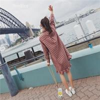 连衣裙2018春新款女韩版长袖复古ins中长款格子显瘦衬衫裙初恋裙 红格