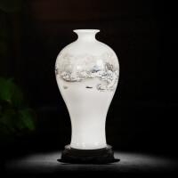 景德镇陶瓷器小花瓶家居日用装饰品摆件插花干花中式客厅电视柜工艺品 雪景梅瓶 木底座