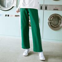 PASS日系潮牌2018夏装新款绿色阔腿裤运动休闲长裤宽松
