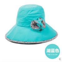 女款遮阳帽大沿防紫外线 韩版潮凉帽花 朵防晒帽太阳