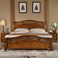 现代新中式床1.8实木床橡胶木双人床现代简约1.5米高箱储物主卧床 *2+环保床垫(10CM)
