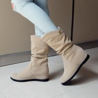 秋冬季雪地靴内增高女靴子女士坡跟平底短靴磨砂中筒靴加绒马丁靴