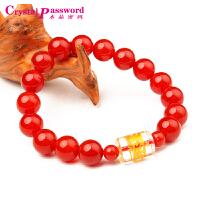 水晶密码CrystalPassWord 天然红玛瑙白水晶六字真言手链-JXYL1Q085