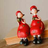 红色苹果姑娘一对欧式树脂小摆件可爱吊脚娃娃客厅酒柜装饰品摆件