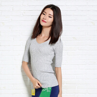 春季新款女纯山羊绒衫中袖V领针织衫套头修身短款毛衣打底衫