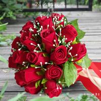 韩式新娘手捧花结婚绸缎仿真红玫瑰花摄影婚礼手捧花束家居日用家装软饰节庆饰品