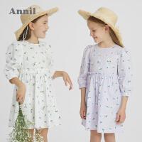 安奈儿童装女童连衣裙2021新款洋气八分袖女孩裙子全棉公主碎花裙3