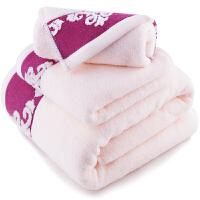 [当当自营]三利 纯棉缎档图腾纹样 桃粉 方巾毛巾浴巾三件套 礼盒装