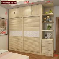 简约大衣柜推拉门衣柜移门衣柜整体大衣柜组装板式实木质衣柜家具 2门