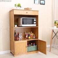厨房置物架楠竹微波炉架储物收纳架带门柜子实烤箱架层架子