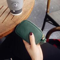欧美双拉链牛皮短款钱包女公交卡包新品零钱包韩国迷你小钱包散钱硬币包