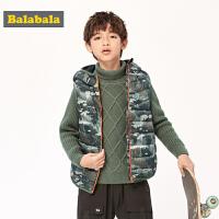 巴拉巴拉儿童马甲秋冬男童背心2019新款童装轻薄羽绒迷彩上衣韩版