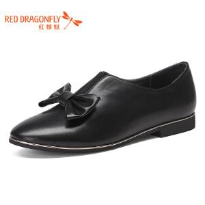 红蜻蜓女鞋2017春季新款低跟真皮舒适简约花朵女单鞋松紧低跟女鞋