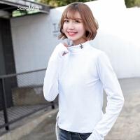 2018春装新款韩版修身显瘦上衣服纯棉长袖T恤女百搭高领打底衫潮
