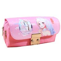 新款奇迹暖暖双层大容量笔袋女生可爱密码锁文具盒笔盒收纳盒