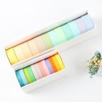 大号12色纯色和纸胶带套装马卡龙糖果色彩虹DIY手帐胶带