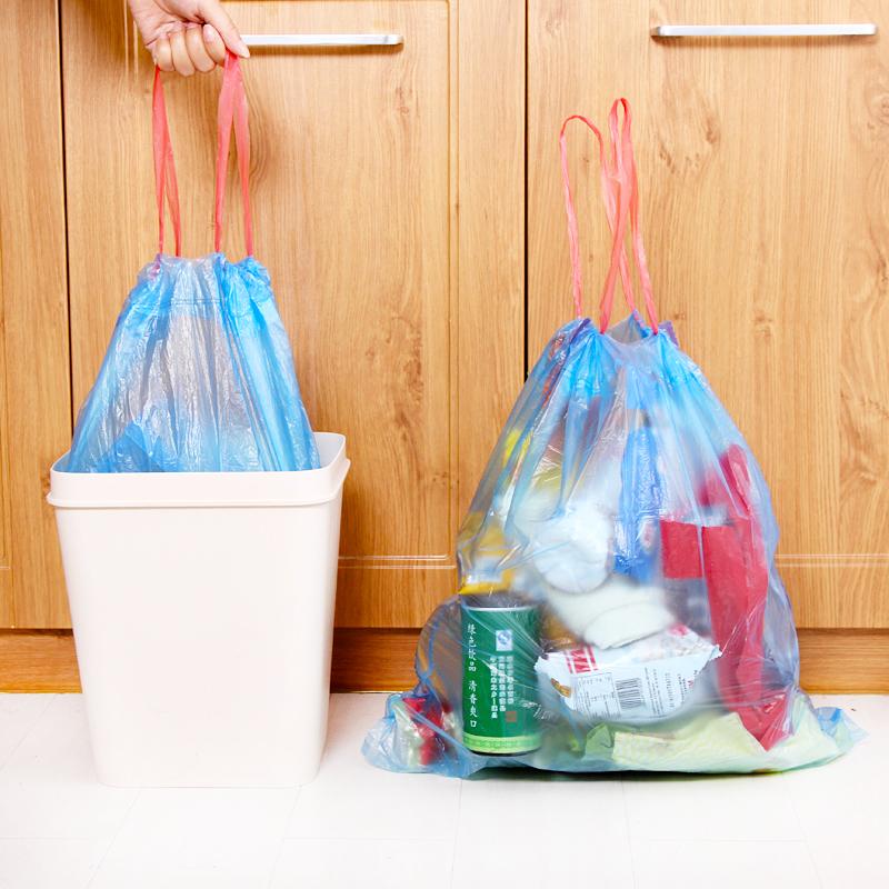 10卷装垃圾袋家用手提式加厚抽绳一次性批发卫生间自动收口厨房塑料袋 颜色随机 十卷装 颜色随机发送