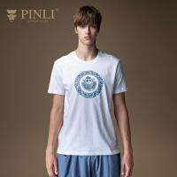 PINLI品立2020夏季新款男装趣味印花纯棉修身短袖T恤男潮日常休闲