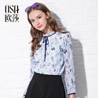 【2件6折】OSA欧莎秋季新款女装 领部系带印花长袖雪纺衫女秋 C17001