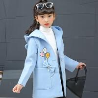 女童毛呢外套秋2017新款5-7韩版装加厚9公主洋气儿童呢子大衣 浅蓝色 夹棉加厚