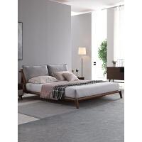 北欧实木床现代简约布艺双人婚床1.8米1.5卧室日式主卧白蜡木家具 +床头柜*2+乳胶床垫